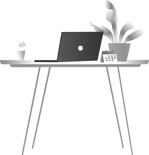 illustration of a working table with computer and coffee